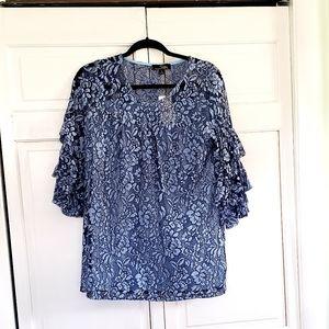 Blue Ruffle Sleeve Blouse